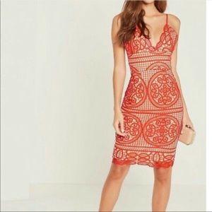 New red midi dress